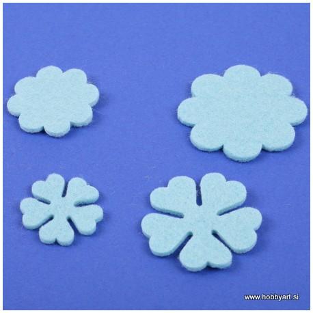 Rožice iz filca 35 - 55mm, Sv. modra, 10 kosov