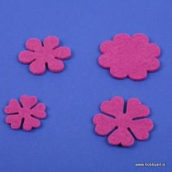 Rožice iz filca 35 - 55mm, Vijolična, 10 kosov