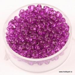 Dvojne perle 2,5 x 5mm, Prosojne Lila 12g.