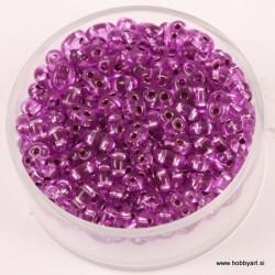Dvojne perle 2,5 x 5mm, Sr. sredica Lila 12g.
