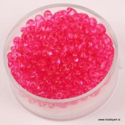 Dvojne perle 2,5 x 5mm, Prosojne Pink 12g.