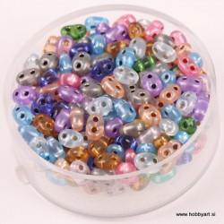Dvojne perle 2,5 x 5mm, Sr. sredica Mešane 12g.