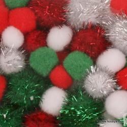 Pom Pom set Božič 2, 2.5, 3.5cm, 50 kosov