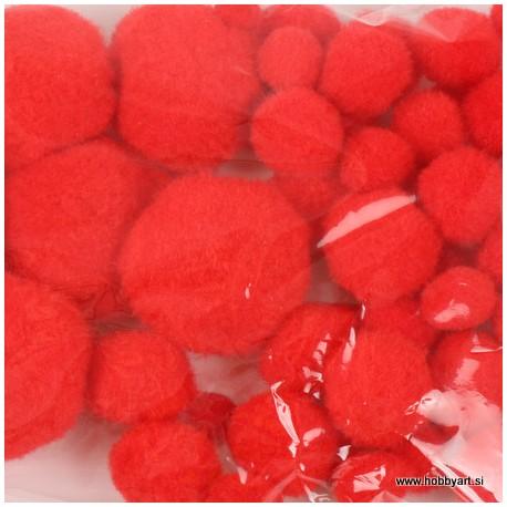 Pom Pom set Rdeča 1, 1.5, 2, 2.5, 4cm, 50 kosov
