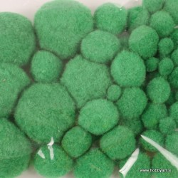 Pom Pom set Zelena 1, 1.5, 2, 2.5, 4cm, 50 kosov