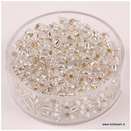 Perle Rocailles 3,5mm sr. sredica Kristalne, 17g