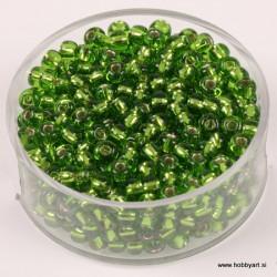 Perle Rocailles 3,5mm sr. sredica Lind zelena, 17g