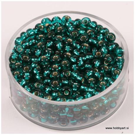 Perle Rocailles 3,5mm sr. sredica Tem. zelena, 17g