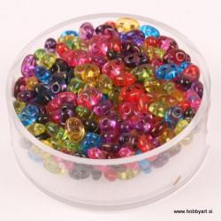 Dvojne perle 2,5 x 5mm, Prosojne Mešane 12g.