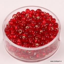 Steklene perle Metuljčki 6,5mm, Sr. sredica Rdeče 17g.
