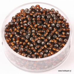 Perle Rocailles sr. sredica 2,6mm Tem. rjava, 17g