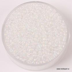 Miyuki perle 2,2mm, barvna sr. Bela mavrična 12g.