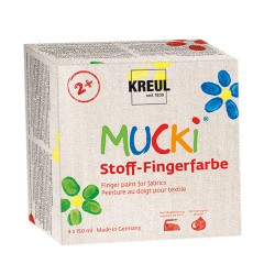 Mucki prstne barve za tekstil 4 x 150ml