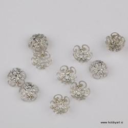 Kapica za perle 10mm, Platinaste b. 12 kosov