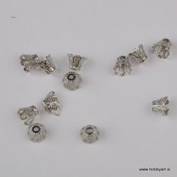 Kapica za perle 6mm, Platinaste b. 12 kosov