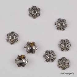 Kapica za perle 10mm, Platinaste b. 8 kosov