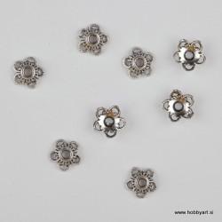 Kapica za perle 11mm, Platinaste b. 8 kosov