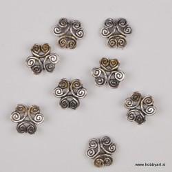 Kapica za perle 12mm, Platinaste b. 8 kosov