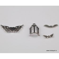 Kovinski obeski Ptičnica Krila, 4 kosi cca 25 - 40mm