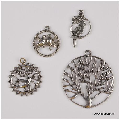 Kovinski obeski Ptice Drevo, 4 kosi cca 20 - 40mm