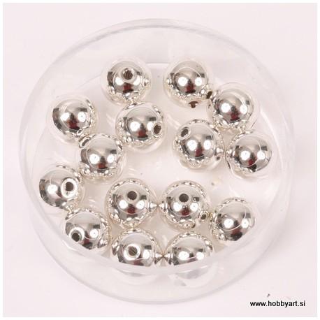Metalne perle Srebrna A kvaliteta 8mm, 15 kosov