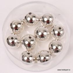 Metalne perle Srebrna A kvaliteta 10mm, 10 kosov