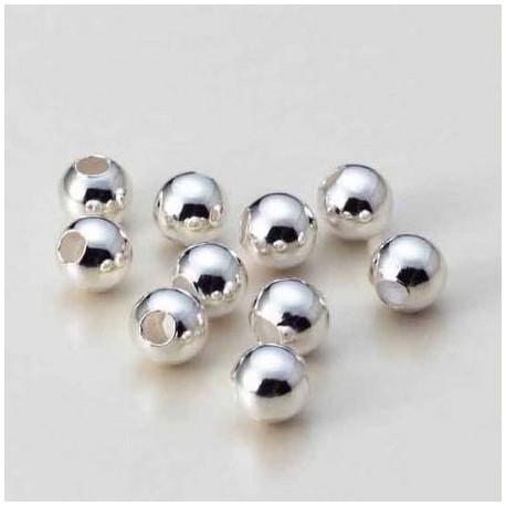 Okrogle kovinske perle 6mm, Platinaste b. 16 kosov