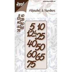 Šablona za rezanje in embossing Jubilejne številke vi. cca 18mm