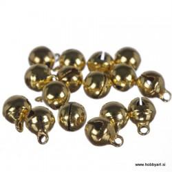 Zvončki 8mm, Zlate barve 16 kosov