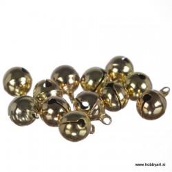 Zvončki 10mm, Zlate barve 12 kosov