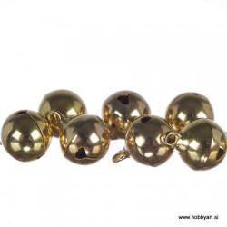 Zvončki 12mm, Zlate barve 8 kosov