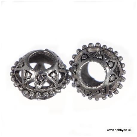 Kovinske filigranske perle 10mm Φ luknje 4mm, 2 kosa
