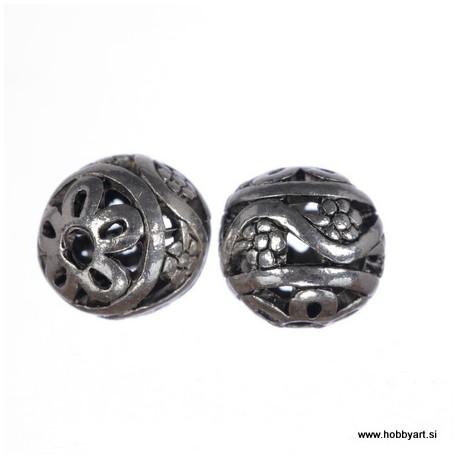 Kovinske filigranske perle 10mm Φ luknje 1,5mm, 2 kosa