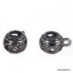 Kovinske filigranske perle z zanko 10mm Φ luknje 4mm, 2 kosa