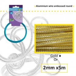 Embossirana žica iz aluminija 2mm x 5m, Zlata