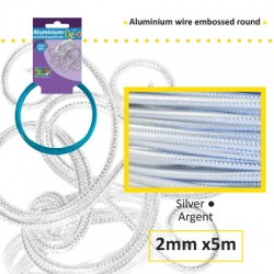 Embossirana žica iz aluminija 2mm x 5m, Srebrna