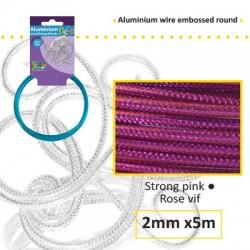 Embossirana žica iz aluminija 2mm x 5m, Močno roza