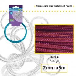 Embossirana žica iz aluminija 2mm x 5m, Rdeča