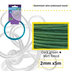 Embossirana žica iz aluminija 2mm x 5m, T. zelena