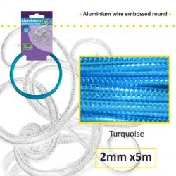 Embossirana žica iz aluminija 2mm x 5m, Turkizna