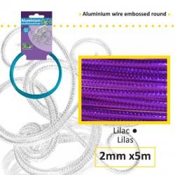 Embossirana žica iz aluminija 2mm x 5m, Lila