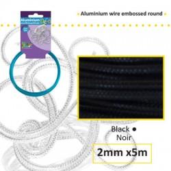 Embossirana žica iz aluminija 2mm x 5m, Črna