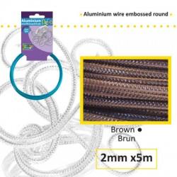 Embossirana žica iz aluminija 2mm x 5m, Rjava