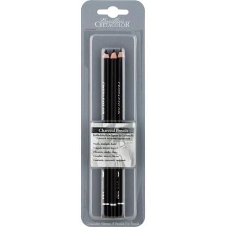 Oglje v svinčniku 3 kosi mehka, srednja, trda mina