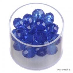 Brušene steklene perle 8 x 10mm, Modre 24 kosov