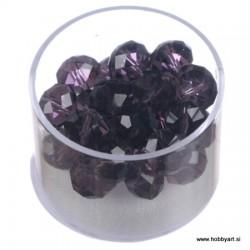 Brušene steklene perle 8 x 10mm, Temno vijolične 24 kosov