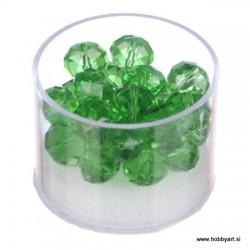 Brušene steklene perle 8 x 10mm, Zelene 24 kosov