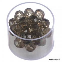 Brušene steklene perle 8 x 10mm, Antracitne 24 kosov