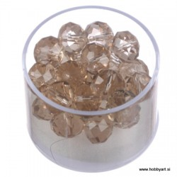 Brušene steklene perle 8 x 10mm, Svetli topas 24 kosov