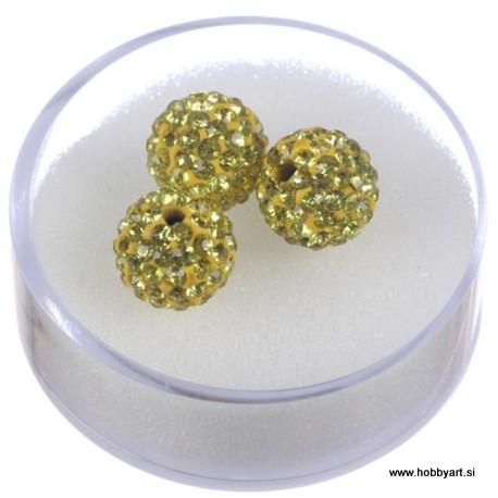 Shamballa perle s kristali, Rumena 3 kosi